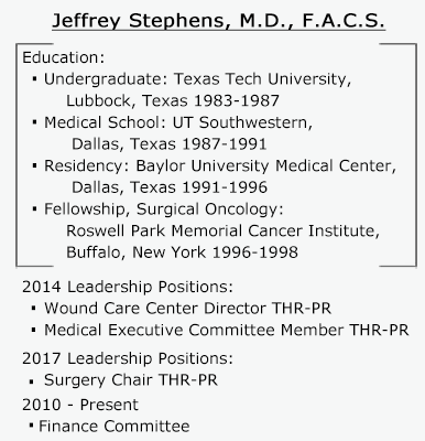 Jeffrey Stephens, M.D. F.A.C.S/ Education: Undergraduate: Texas Tech University, Lubbock, Texas 1983-1987. Medical School: UT Southwestern, Dallas, Texas 1987-1991. Residencey: Baylor University Medical Center, Dallas, Texas 1991-1996. Fellowship, Surgical Oncology: Roswell Park Memorial Cancer Institute, Buffalo, New Youk 1996-1998. 2014 Leadership Positions: Wound Care Center Director THR-PR. Medical Executive Committee Member THR-PR.